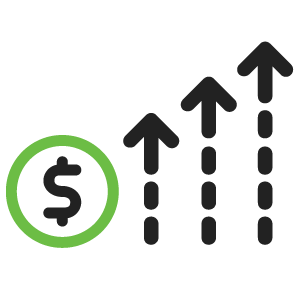 Black and green icon of a dollar and three arrows demonstrating financial success.