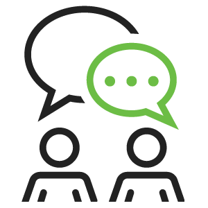 Black and green icon of two people having a conversation.