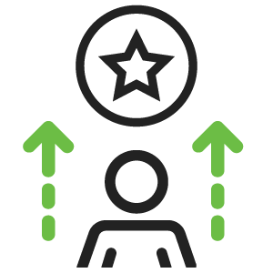 Black and green icon of a man and a star above him demonstrating achievement.