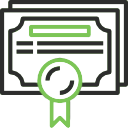 Black and green icon of a certificate.
