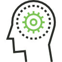 Black and green icon of a cogwheel in a head outline demonstrating learning.