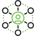 Black and green icon demonstrating a support system.